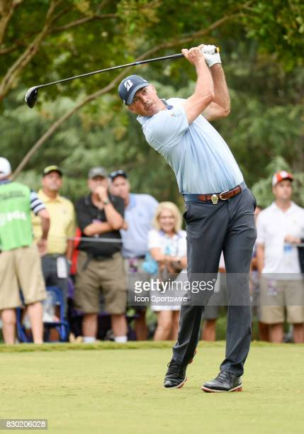 Matt Kuchar tees off on the 11th hole during 2nd round action at the PGA Championship at the Quail Hollow Club on August 11 2017 in Charlotte NC