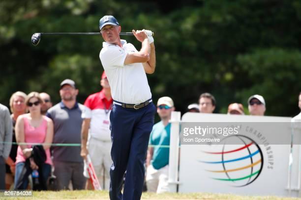 Matt Kuchar tees off on the 8th hole during the third round of the World Golf ChampionshipBridgestone Invitational on August 5 2017 at Firestone...
