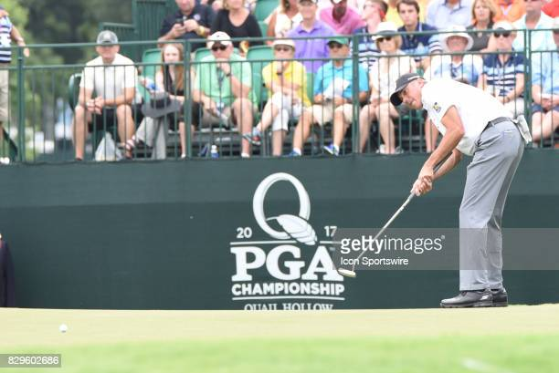 Matt Kuchar watches a long putt slip by the hole during the first round of the PGA Championship on August 10 2017 at Quail Hollow Golf Club in...