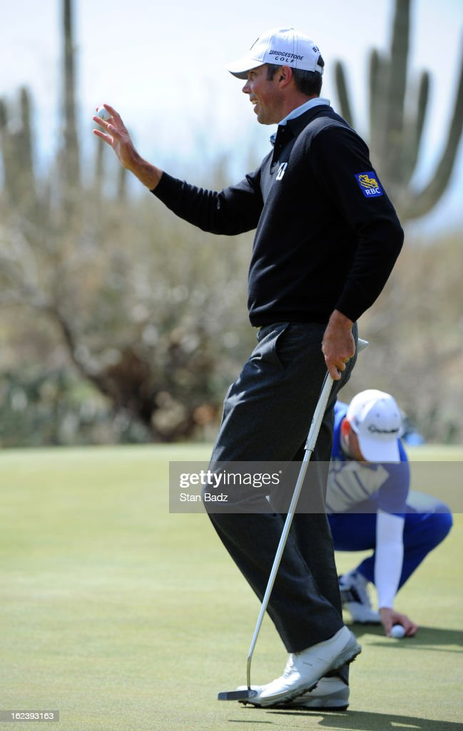 Matt Kuchar waves his golf ball as he exits the 15th hole during the second round of the World Golf Championships-Accenture Match Play Championship at The Golf Club at Dove Mountain on February 22, 2013 in Marana, Arizona.