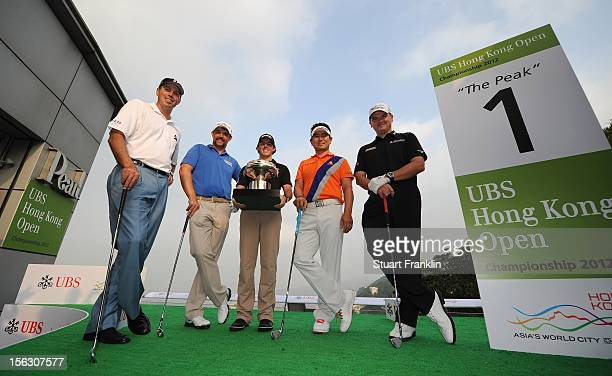 Matt Kucher of USA Padraig Harrington of Ireland Rory McIlroy of Northern Ierland YE Yang of Korea and Paul Lawrie of Scotland pose during The 2012...
