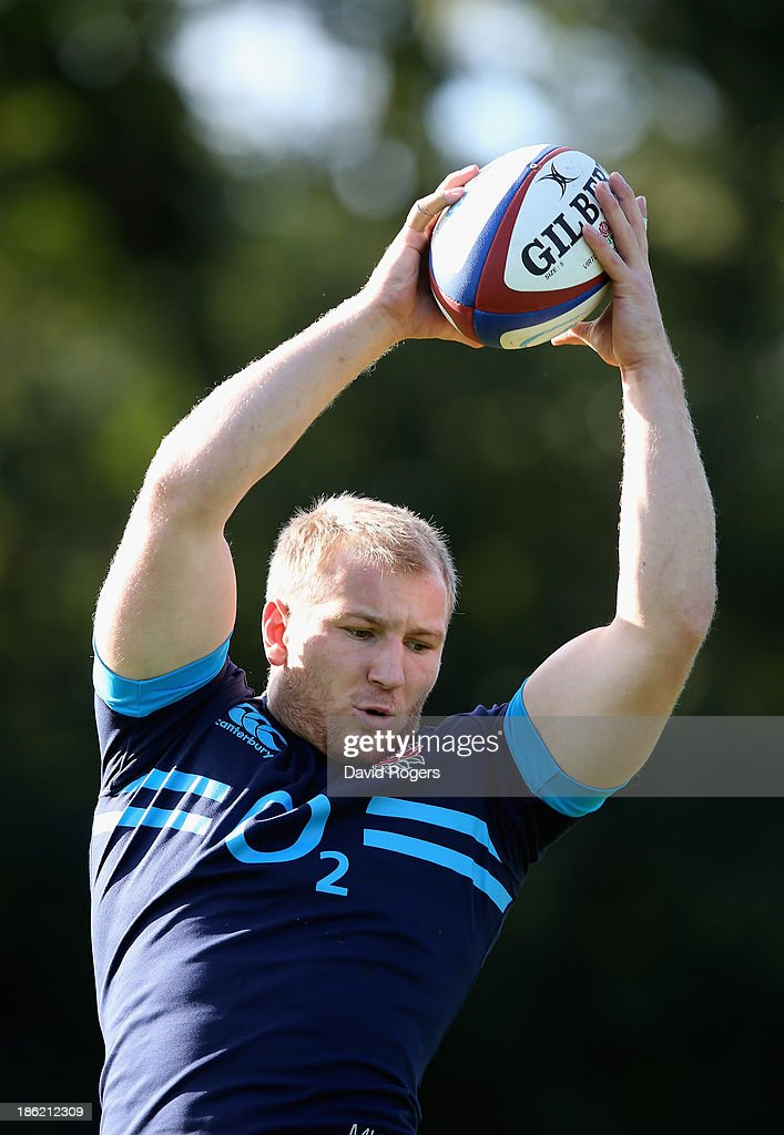 Matt Kvesic catches the ball during the England training session held at Pennyhill Park on October 29, 2013 in Bagshot, England.