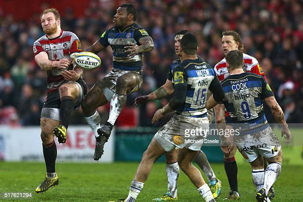 Matt Kvesic of Gloucester competes for a high ball with Semesa Rokoduguni of Bath during the Aviva Premiership match between Gloucester and Bath at...