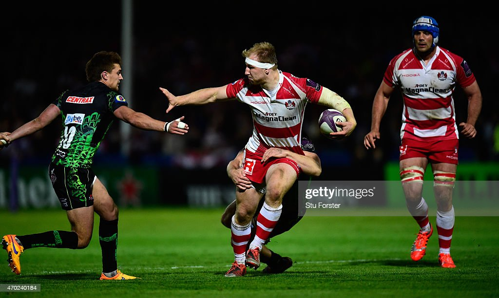 Matt Kvesic of Gloucester hands off Henry Slade during the European Rugby Challenge Cup semi final match between Gloucester Rugby and Exeter Chiefs...