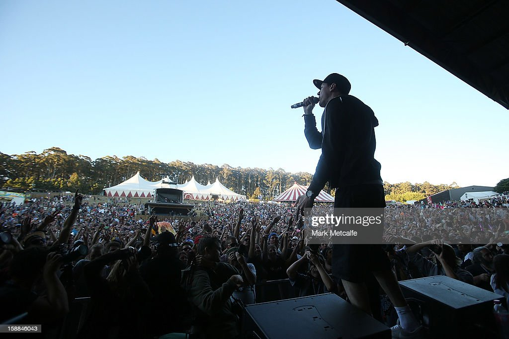 Matt Lambert of the Hilltop Hoods performs live on stage at The Falls Music and Arts Festival on December 31, 2012 in Lorne, Australia.
