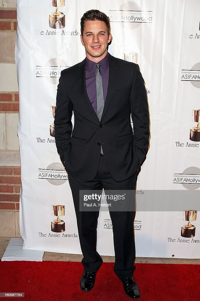 <a gi-track='captionPersonalityLinkClicked' href=/galleries/search?phrase=Matt+Lanter&family=editorial&specificpeople=585848 ng-click='$event.stopPropagation()'>Matt Lanter</a> arrives at the 40th Annual Annie Awards held at Royce Hall on the UCLA Campus on February 2, 2013 in Westwood, California.