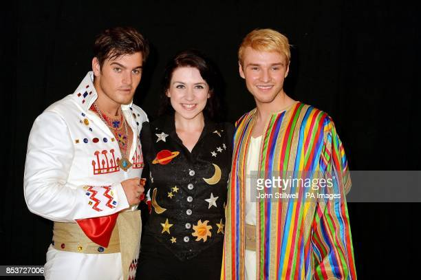 Matt Lapinskas who plays the Pharaoh Danielle Hope the narrator and Lloyd Daniels who plays Joseph during rehearsal for the show in west London The...