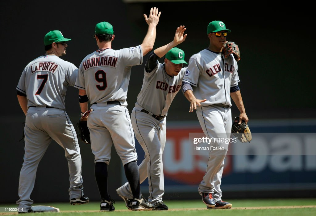 Matt LaPorta Jack Hannahan Asdrubal Cabrera and Michael Brantley of the Cleveland Indians celebrate a win after game one in a double header on July...