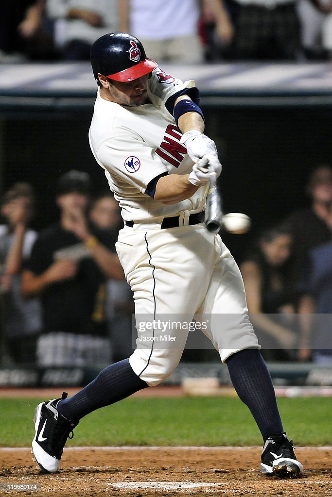 Matt LaPorta of the Cleveland Indians bats during the ninth inning against the Toronto Blue Jays at Progressive Field on July 9 2011 in Cleveland Ohio