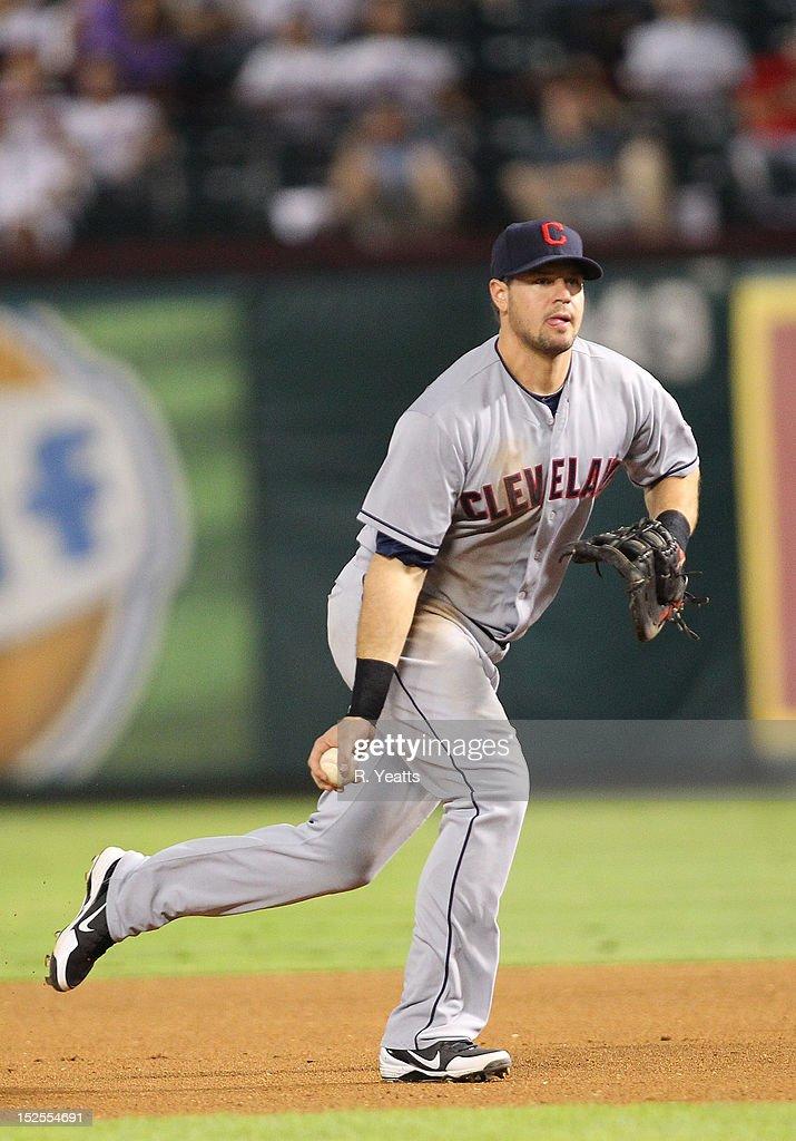 Matt LaPorta of the Cleveland Indians in action against the Texas Rangers at Rangers Ballpark in Arlington on September 13 2012 in Arlington Texas