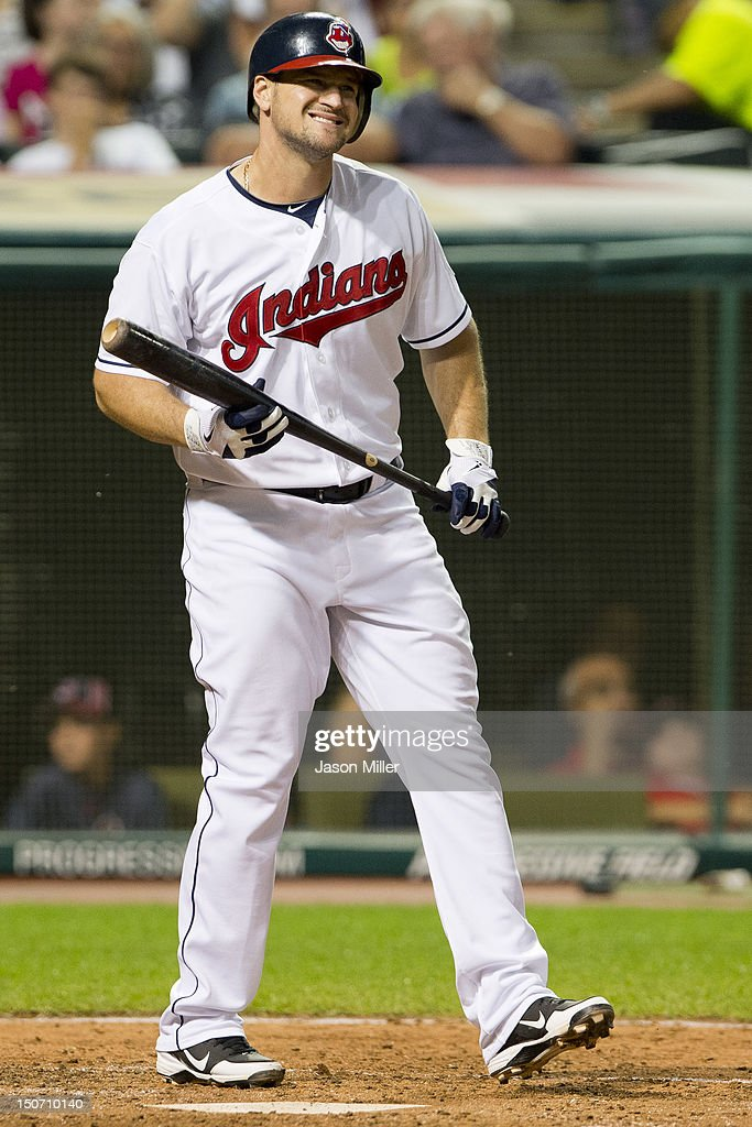 Matt LaPorta of the Cleveland Indians reacts after striking out during the sixth inning against the New York Yankees at Progressive Field on August...
