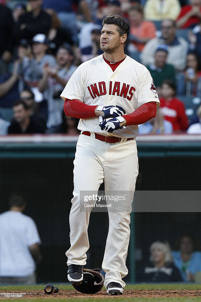 Matt LaPorta of the Cleveland Indians reacts after striking out against the Detroit Tigers on September 15 2012 at Progressive Field in Cleveland...