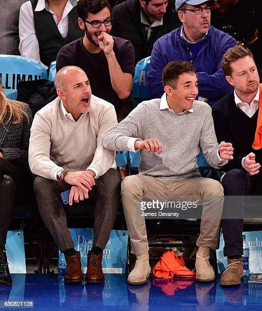 Matt Lauer and Jack Lauer attend Orlando Magic vs New York Knicks game at Madison Square Garden on January 2 2017 in New York City