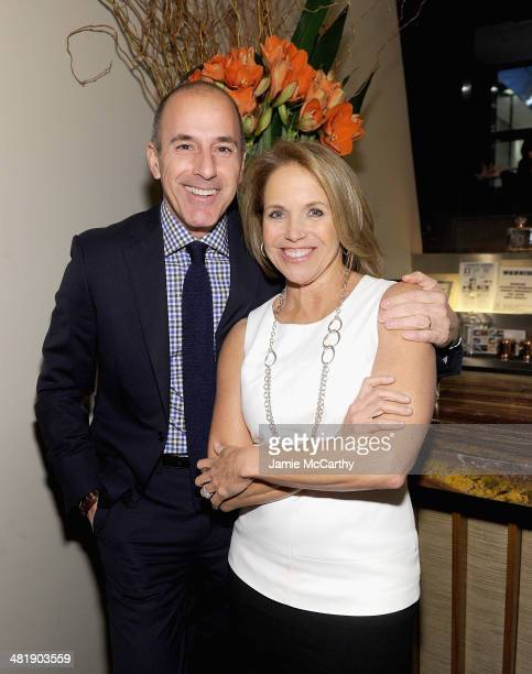 Matt Lauer and Katie Couric attend The New York Observer Relaunch Event on April 1 2014 in New York City