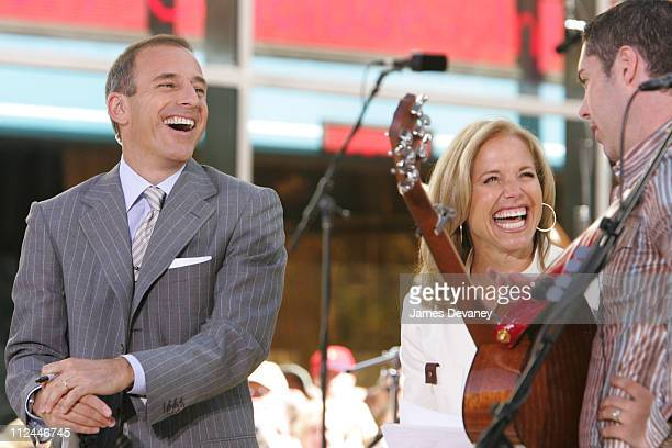 Matt Lauer and Katie Couric during Barenaked Ladies Perform on 'The Today Show' Summer Concert Series July 9 2004 at NBC Studios Rockefeller Plaza in...