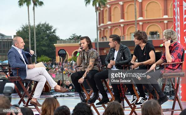 Matt Lauer and One Direction appear on NBC's Today Show to release their new album 'Four' at Universal City Walk At Universal Orlando on November 17...