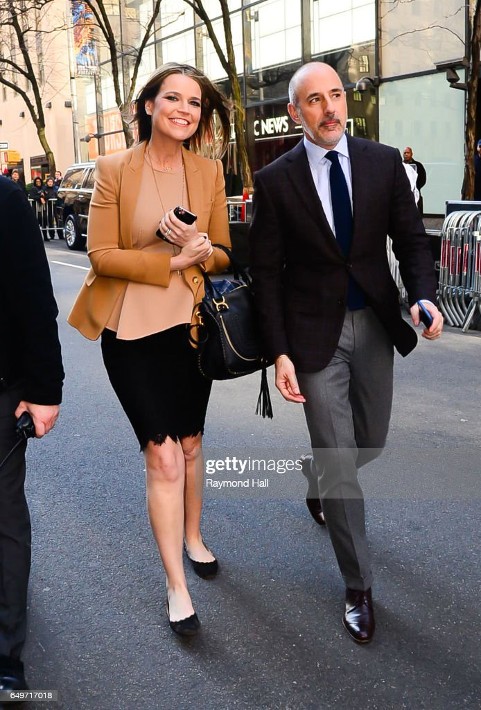Matt Lauer and Savannah Guthrie are seen waling in Midtown on March 8, 2017 in New York City.