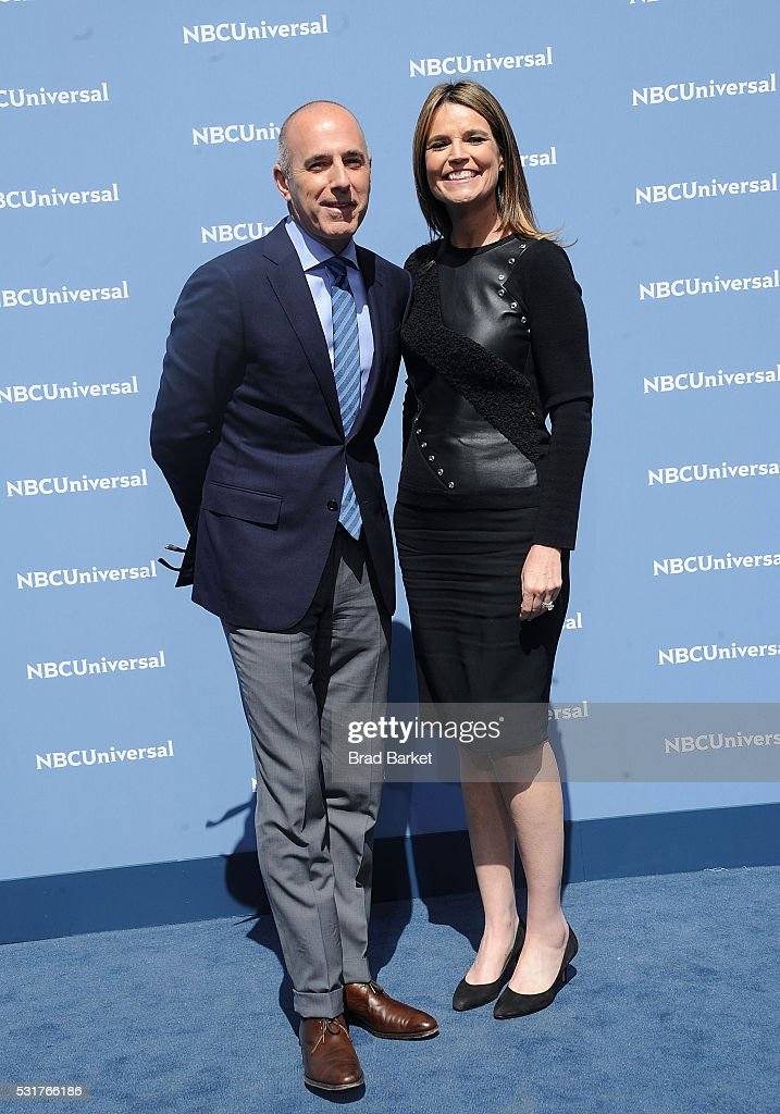 Matt Lauer(L) and Savannah Guthrie attend the NBCUniversal 2016 Upfront Presentation on May 16, 2016 in New York City.