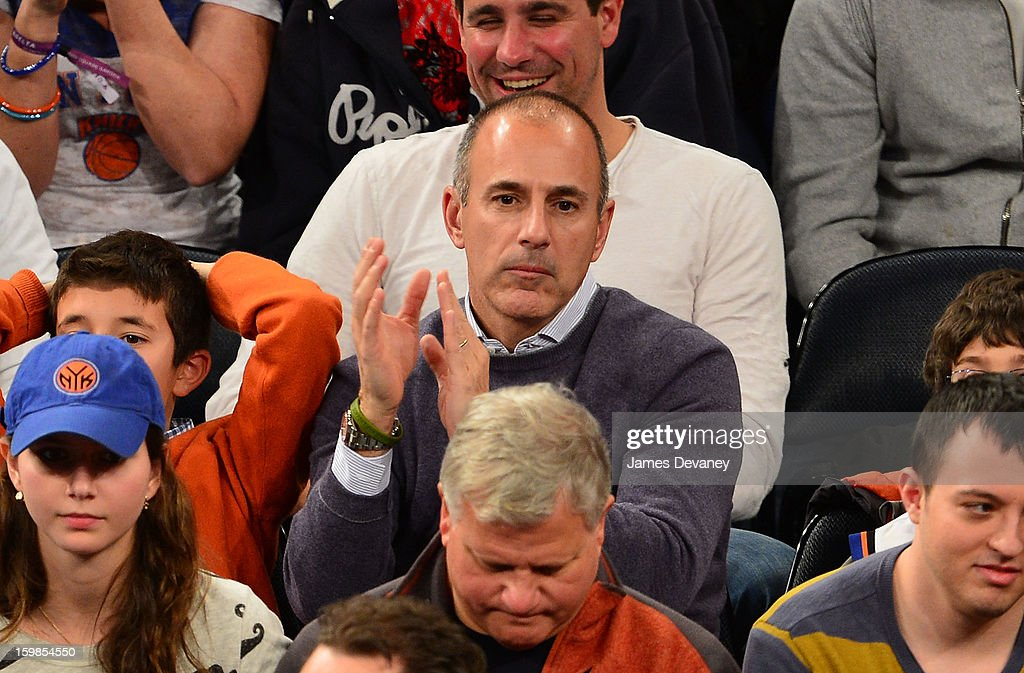 <a gi-track='captionPersonalityLinkClicked' href=/galleries/search?phrase=Matt+Lauer&family=editorial&specificpeople=206146 ng-click='$event.stopPropagation()'>Matt Lauer</a> attends the Brooklyn Nets vs New York Knicks game at Madison Square Garden on January 21, 2013 in New York City.