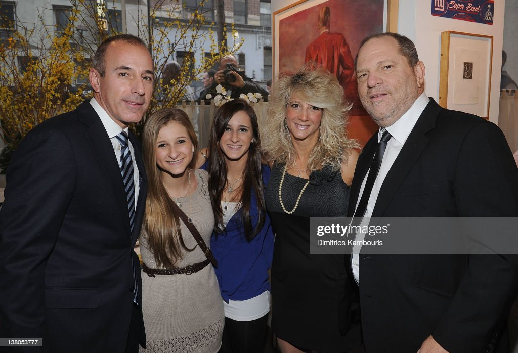 <a gi-track='captionPersonalityLinkClicked' href=/galleries/search?phrase=Matt+Lauer&family=editorial&specificpeople=206146 ng-click='$event.stopPropagation()'>Matt Lauer</a>, Corrine Figoski, Caroline Figoski, Paulette Figoski and <a gi-track='captionPersonalityLinkClicked' href=/galleries/search?phrase=Harvey+Weinstein&family=editorial&specificpeople=201749 ng-click='$event.stopPropagation()'>Harvey Weinstein</a> attend the New York Giants Super Bowl Pep Rally Luncheon at Michael's on February 1, 2012 in New York City.