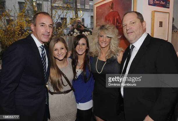 Matt Lauer Corrine Figoski Caroline Figoski Paulette Figoski and Harvey Weinstein attend the New York Giants Super Bowl Pep Rally Luncheon at...