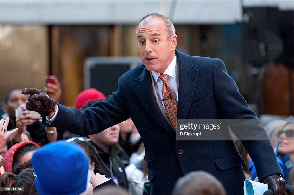 <a gi-track='captionPersonalityLinkClicked' href=/galleries/search?phrase=Matt+Lauer&family=editorial&specificpeople=206146 ng-click='$event.stopPropagation()'>Matt Lauer</a> hosts NBC's 'Today' at Rockefeller Plaza on November 21, 2012 in New York City.