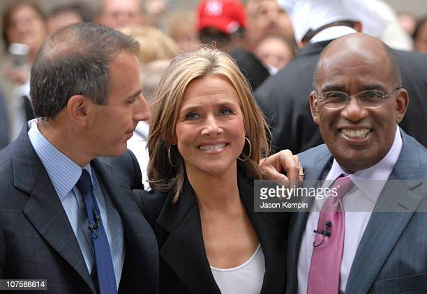 Matt Lauer Meredith Vieira and Al Roker during Meredith Vieira Makes Her Debut Appearance On 'The Today Show' September 13 2006 at Rockefeller Plaza