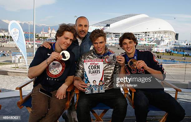 Matt Lauer of the NBC TODAY Show chats with Joss Christensen Gus Kenworthy and Nick Goepper of the USA Skiing team in the Olympic Park during the...
