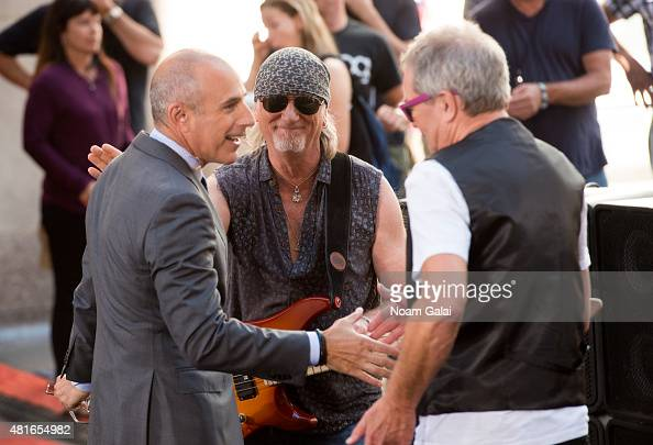 Matt Lauer Roger Glover and Ian Gillan attend NBC's 'Today' at Rockefeller Plaza on July 23 2015 in New York City