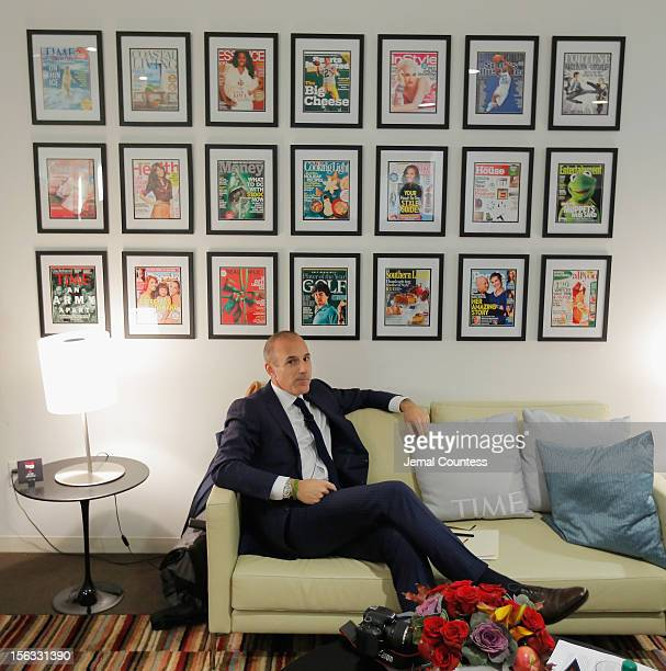 Matt Lauer waits backstage before TIME's Person of the Year Panel on November 13 2012 in New York City