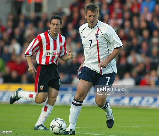 Matt Le Tissier attacks the Southampton goal during the Matt Le Tissier Testimonial match played between Southampton and an England XI at St Mary's...