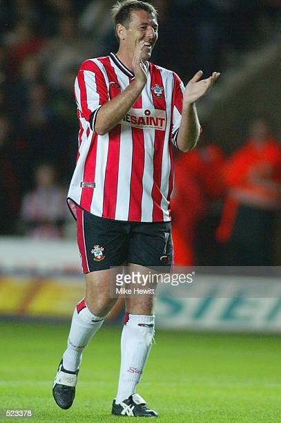 Matt Le Tissier of Southampton celebrates after scoring during the Matt Le Tissier Testimonial match played between Southampton and England XI at St...