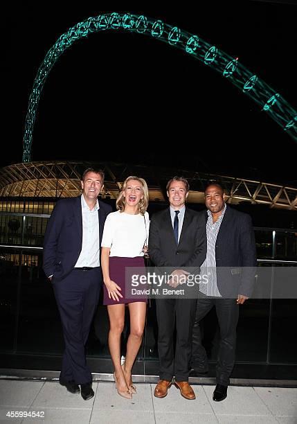Matt Le Tissier Rachel Riley Graeme Le Saux and John Barnes at Hilton London Wembley on September 23 2014 in Wembley England EE transforms Wembley...