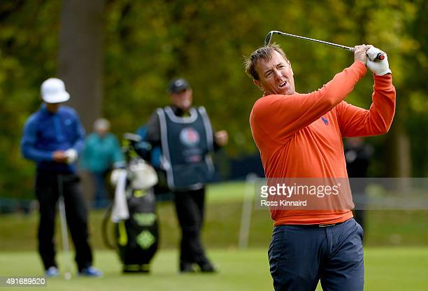 Matt Le Tissier the former footballer in action during the proam event prior to the British Masters at Woburn Golf Club on October 7 2015 in Woburn...
