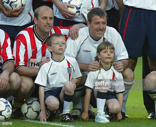 Matt Le Tissier with his two children before the Matt Le Tissier Testimonial match played between Southampton and an England XI at St Mary's Stadium...