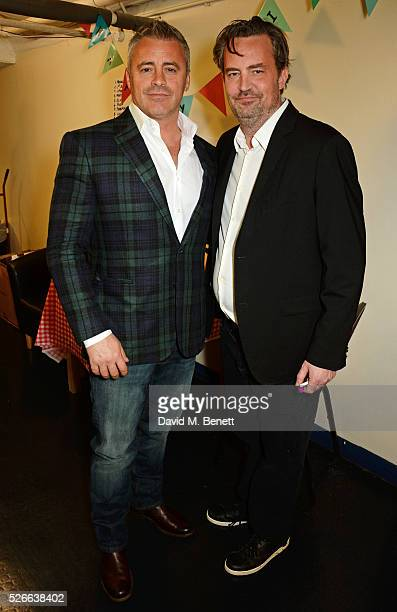 Matt LeBlanc and Matthew Perry pose backstage following a performance of 'The End Of Longing' Matthew Perry's playwriting debut which he stars in at...