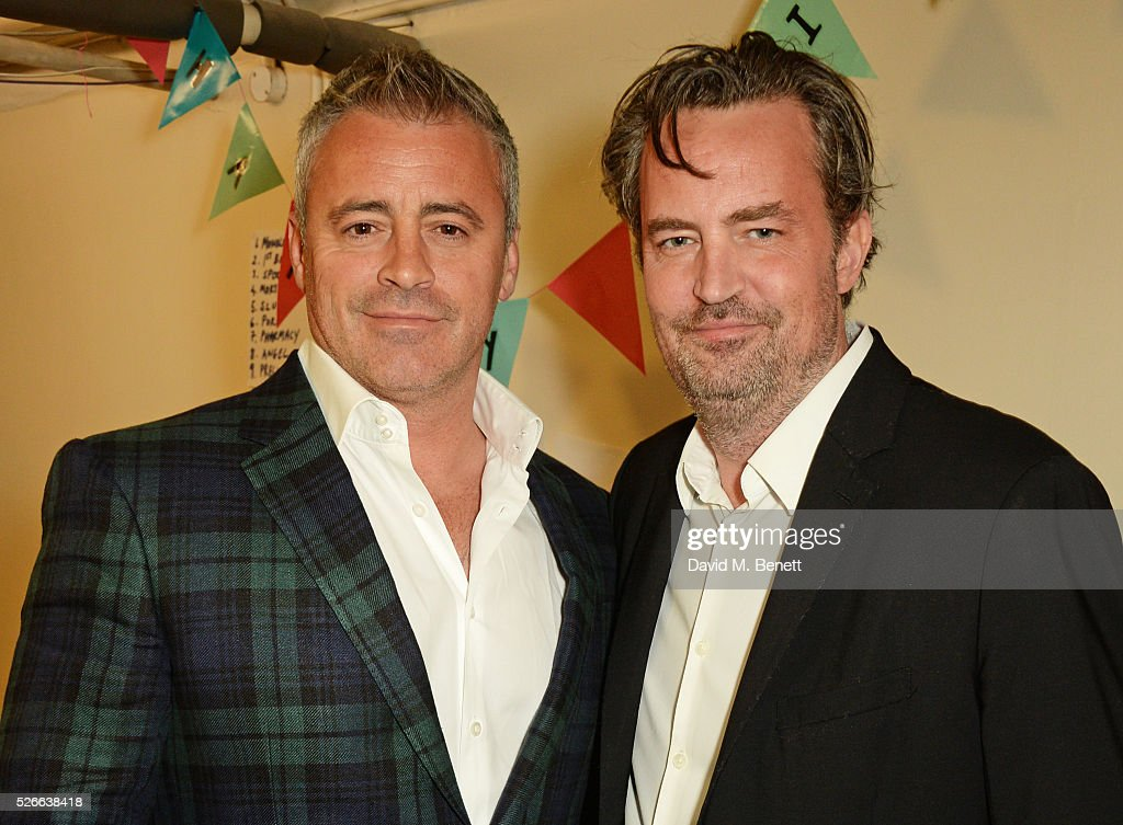 Matt LeBlanc (L) and Matthew Perry pose backstage following a performance of 'The End Of Longing', Matthew Perry's playwriting debut which he stars in at The Playhouse Theatre on April 30, 2016 in London, England.