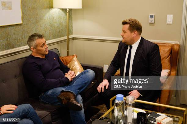Matt LeBlanc chats in the green room with James Corden during 'The Late Late Show with James Corden' Monday November 6 2017 On The CBS Television...