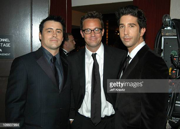 Matt LeBlanc Matthew Perry and David Schwimmer during 55th Annual Primetime Emmy Awards Backstage and Audience at The Shrine Auditorium in Los...