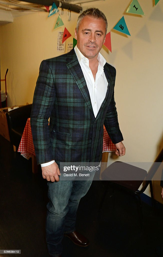 Matt LeBlanc poses backstage following a performance of 'The End Of Longing', Matthew Perry's playwriting debut which he stars in at The Playhouse Theatre on April 30, 2016 in London, England.
