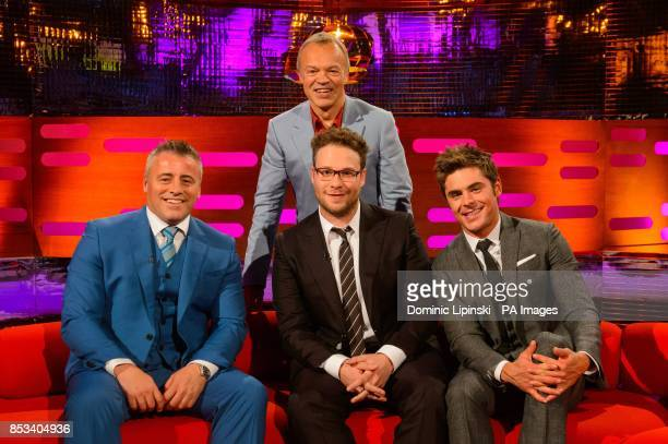 Matt LeBlanc Seth Rogen and Zac Efron with host Graham Norton during filming of the Graham Norton Show at the London Studios central London to be...