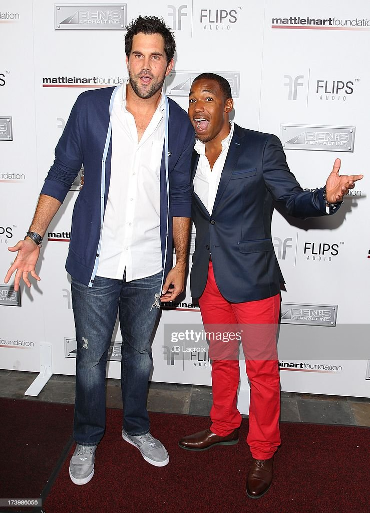 Matt Leinart and Kelvin Brown attend the Matt Leinart Foundation's 7th Annual 'Celebrity Bowl' at Lucky Strikes on July 18, 2013 in Hollywood, California.