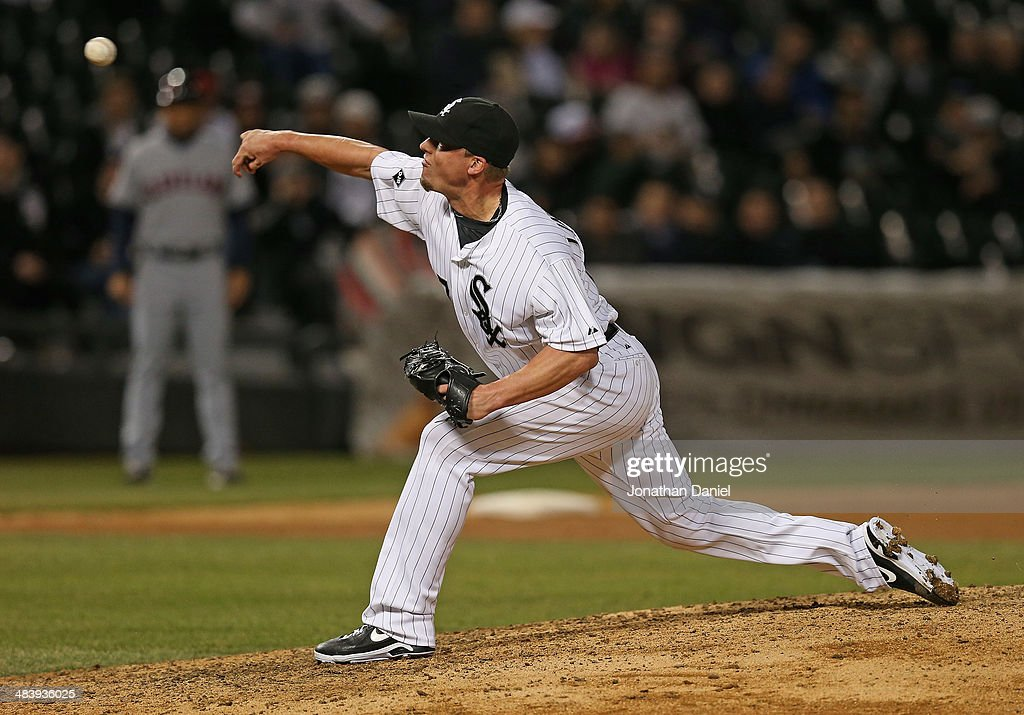 <a gi-track='captionPersonalityLinkClicked' href=/galleries/search?phrase=Matt+Lindstrom&family=editorial&specificpeople=757505 ng-click='$event.stopPropagation()'>Matt Lindstrom</a> #27 of the Chicago White Sox pitches in the 9th inning for a save against the Cleveland Indians at U.S. Cellular Field on April 10, 2014 in Chicago, Illinois. The White Sox defeated the Indians 7-3.