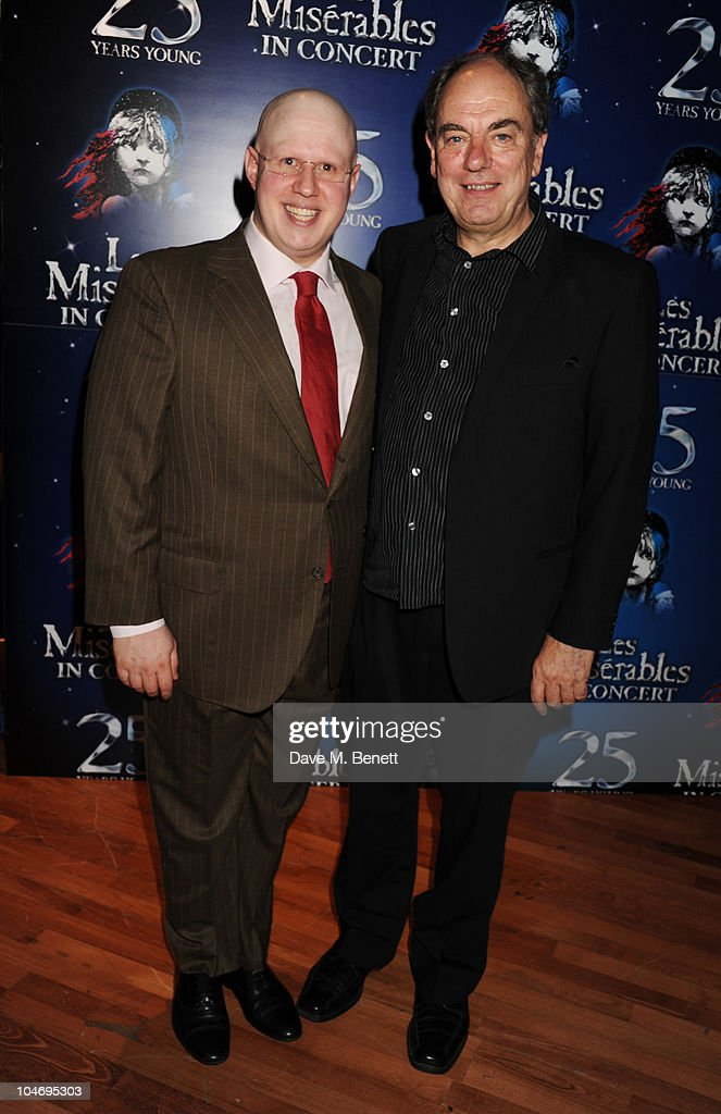 <a gi-track='captionPersonalityLinkClicked' href=/galleries/search?phrase=Matt+Lucas&family=editorial&specificpeople=204202 ng-click='$event.stopPropagation()'>Matt Lucas</a> and Alun Armstrong attend the afterparty following the anniversary performance of 'Les Miserables' at The O2 Arena on October 3, 2010 in London, England.