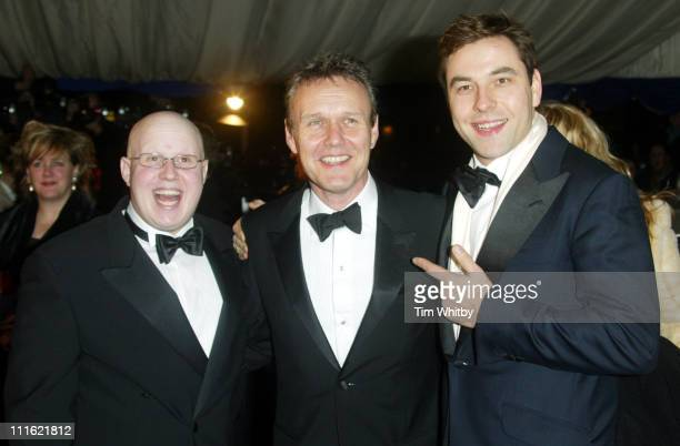 Matt Lucas Anthony Head and David Walliams during The British Comedy Awards 2004 Arrivals at LWT Southbank in London Great Britain
