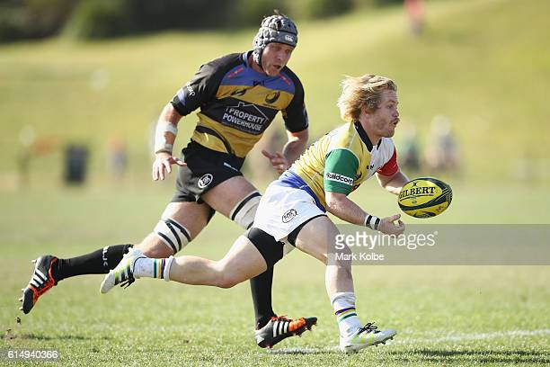 Matt Lucas of the Rays passes during the NRC Semi Final match between the Sydney Rays and Perth Spirit at Pittwater Park on October 16 2016 in Sydney...