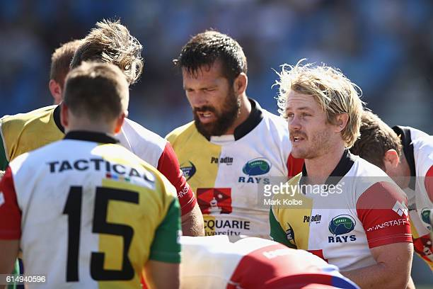 Matt Lucas of the Rays speaks to his celebrates with his team mates after taking the wicket of after a Spirit try during the NRC Semi Final match...