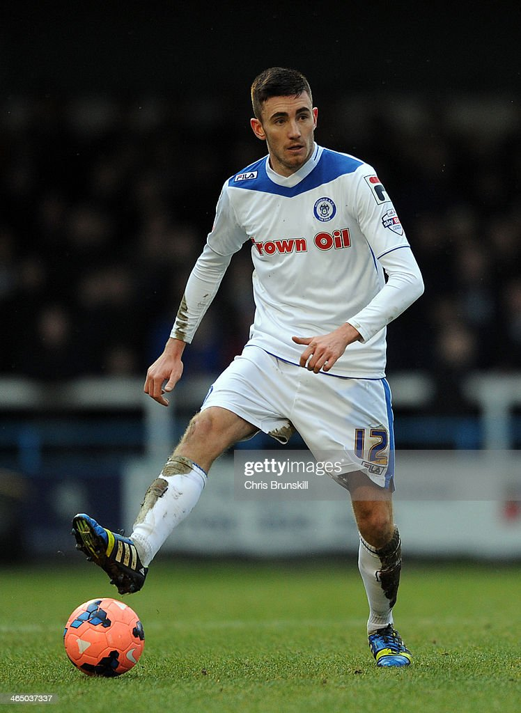 Matt Lund of Rochdale in action during the FA Cup with Budweiser Fourth Round match between Rochdale and Sheffield Wednesday at Spotland on January...