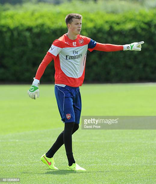 Matt Macey of Arsenal during a training session at London Colney on July 9 2014 in St Albans England