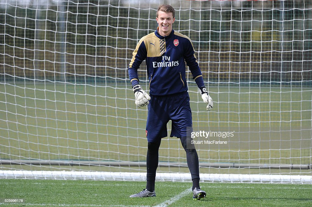 Matt Macey of Arsenal during a training session at London Colney on April 29, 2016 in St Albans, England.